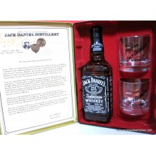 Jack Daniels OLD No.7 Whiskey 75cl Bottle / Tin Box Glass Set